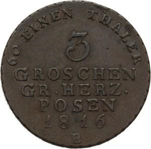 Wielkie Księstwo Poznańskie, 3 grosze 1816 B, Wrocław