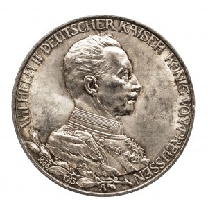 Niemcy, Cesarstwo Niemieckie 1871-1918, Prusy, Wilhelm II 1888-1918, 3 marki 1913 A, Berlin, popiersie cesarza w mundurze