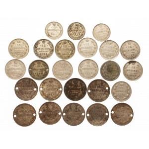 Rosja, Mikołaj II 1894-1917, zestaw monet 10,15,20 kopiejkowych, lata 1902-1915, 25 szt