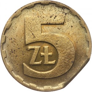 Polska, PRL 1944-1989, 5 złotych 1983, destrukt