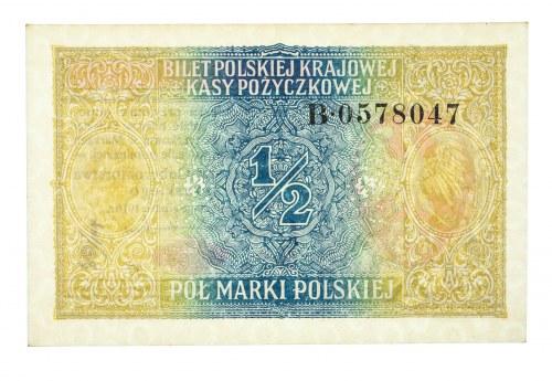Generalne Gubernatorstwo Warszawskie, pół marki polskiej 9.12.1916, Generał, Seria B.