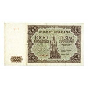Polska, PRL 1944 - 1989, 1000 ZŁOTYCH 15.07.1947, seria E.