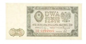 Polska, PRL 1944 - 1989, 2 ZŁOTE 1.07.1948, seria BR.