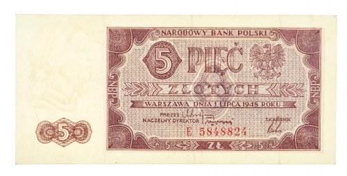 Polska, PRL 1944 - 1989, 5 ZŁOTYCH 1.07.1948, seria E.