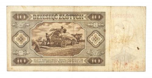Polska, PRL 1944 - 1989, 10 ZŁOTYCH 1.07.1948, seria A.