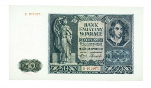 Polska, Generalna Gubernia 1940 - 1941, 50 złotych 1.08.1941, seria D.