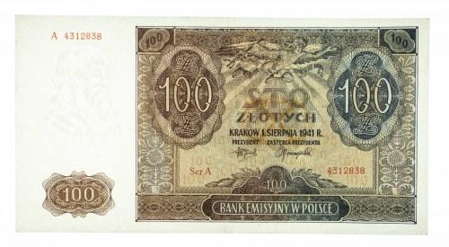 Polska, Generalna Gubernia 1940 - 1941, 100 złotych 1.08.1941, seria A.