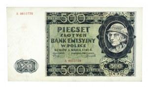 Polska, Generalna Gubernia 1940 - 1941, 500 złotych 1.03.1940, seria A.