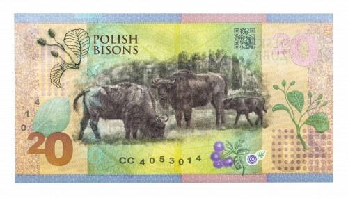 Polska, Rzeczpospolita od 1989 r., PWPW, banknot testowy - POLSKIE ŻUBRY 20. Seria CC.