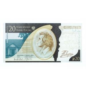 Polska, Rzeczpospolita od 1989 r., NBP - banknot kolekcjonerski, 20 złotych, 200 rocznica urodzin Fryderyka Chopina, Warszawa 2009.