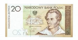 Polska, Rzeczpospolita od 1989 r., NBP - banknot kolekcjonerski, 20 złotych, 200 rocznica urodzin Juliusza Słowackiego, Warszawa 2009.