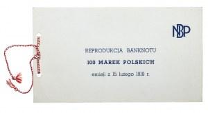 PRL, NBP - Reprodukcja Banknotu 100 Marek Polskich 1919, Warszawa 1979.