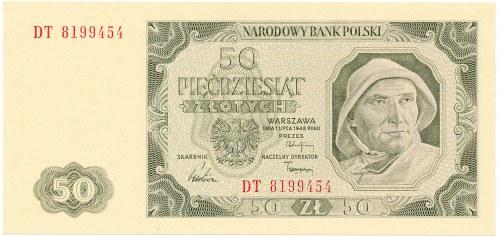 Polska, PRL 1944 - 1989, 50 ZŁOTYCH 1.07.1948, seria DT.