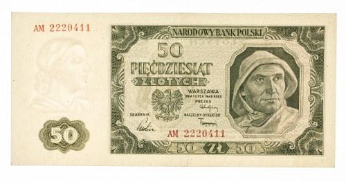 Polska, PRL 1944 - 1989, 50 ZŁOTYCH 1.07.1948, seria AM.