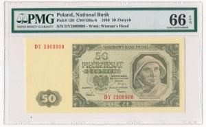 Polska, PRL 1944 - 1989, 50 ZŁOTYCH 1.07.1948, seria DY. PMG 66 EPQ