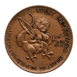 Polska, PRL 1944-1989, żeton okolicznościowy XV LAT MIESIĘCZNIKA BIULETYN NUMIZMATYCZNY, 1980