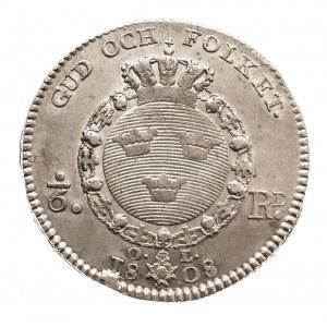 Szwecja, Gustaw IV Adolf 1792-1809, 1/6 riksdaler 1808 r. Sztokholm