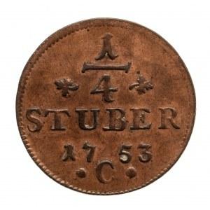 Niemcy, Prusy, Fryderyk II 1740 - 1786, 1/4 stuber 1753, Kleve.