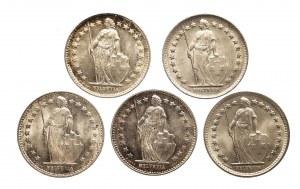 Szwajcaria, zestaw pięciu monet 1/2 franka, srebro.