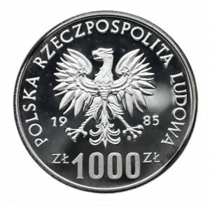 Polska, PRL 1944-1989, 1000 złotych 1985, Ochrona śrosowiska - wiewiórka, próba w srebrze