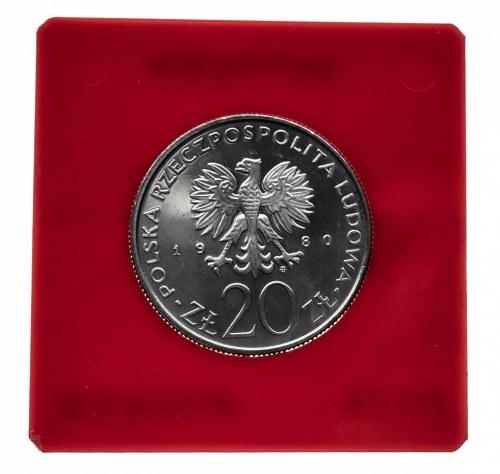 Polska, PRL 1944-1989, 20 złotych 1980, 1905 - Łódź, próba, miedzionikiel