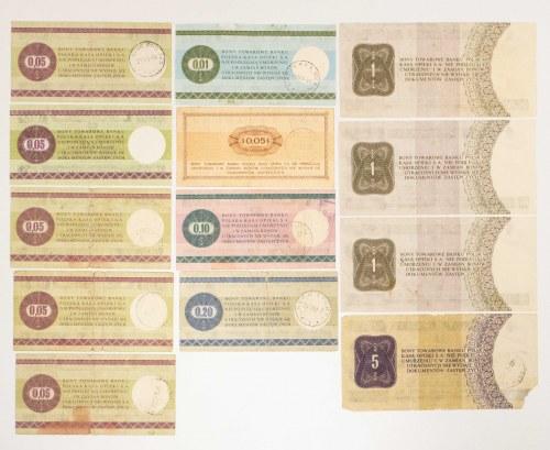 Polska, Pewex - zestaw bonów 1969, 1979, od 1 centa do 5 dolarów - 13 sztuk