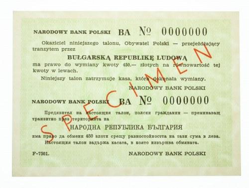 Polska, PRL 1944-1989, talon podróżny na Bułgarię na kwotę 450 złotych - wzór (SPECIMEN), ser. BA0000000