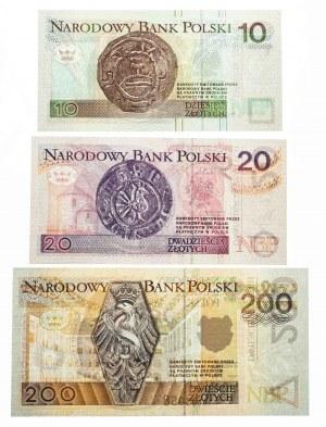 Polska, Rzczpospolita od 1989 r., zestaw 10 + 20 + 200 złotych 1994, seria AA - z tą samą numeracją
