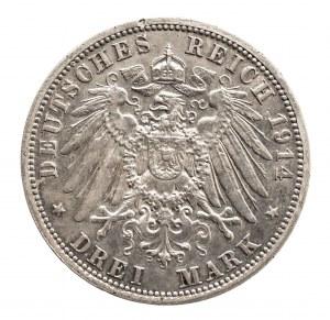 Niemcy, Cesarstwo Niemieckie 1871-1918, Prusy, Wilhelm II 1888-1918, 3 marki 1914 A, Berlin, popiersie cesarza w mundurze.