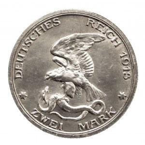 Niemcy, Cesarstwo Niemieckie 1871-1918, Prusy, Wilhelm II 1888-1918, 2 marki 1913 A, Berlin.