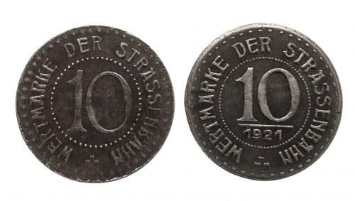 Polska, Wrocław, zestaw dwóch monet 10 fenigów bez daty oraz 1921.