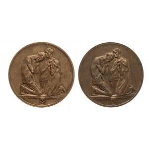 Niemcy, Saksonia, zestaw dwóch medali głodowych z 1923 roku.