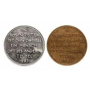 Niemcy, zestaw dwóch medali głodowych z 1923 roku.
