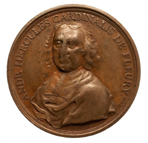 Francja, Ludwik XV Ukochany (1715–1774), medal na pamiątkę 81. urodzin pierwszego ministra królewskiego i kardynała André Hercule de Fleury 1736.