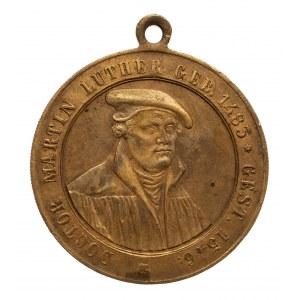 Niemcy, Marcin Luter, medalik z uszkiem,1883.