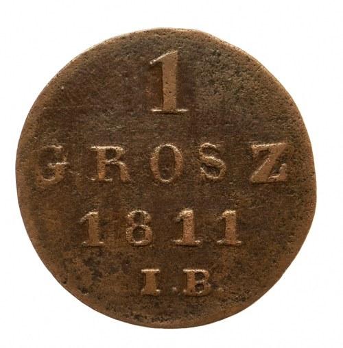Księstwo Warszawskie 1807-1815, 1 grosz 1811 IB, Warszawa.