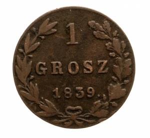 Zabór rosyjski, Mikołaj I 1825-1855, grosz 1839 MW, Warszawa, kropka po dacie