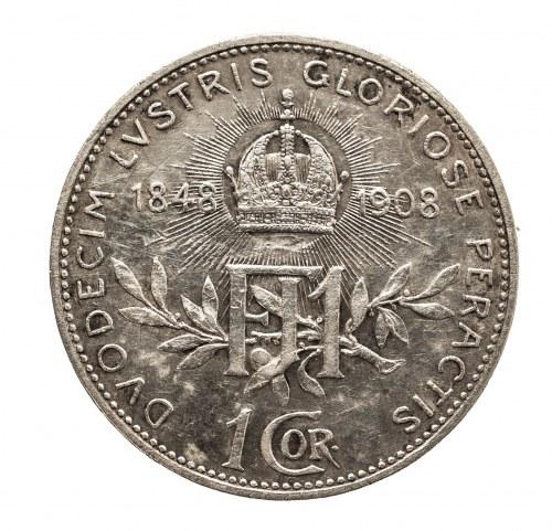 Austria, Franciszek Józef I (1848–1916), 1 korona 1908, Wiedeń, 60-lecie panowania Franciszka Józefa I