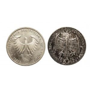 Niemcy, zestaw 10 marek 1988, 1992 SCHOPENHAUER, KOLLWITZ (2szt)
