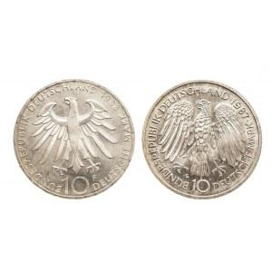 Niemcy, zestaw 10 marek 1988, 1987 ZEISS, ROMISCHE VERTRAGE (2szt)