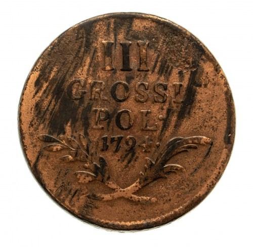 Monety wojskowe dla ziem polskich, 3 grosze 1794, Wiedeń.