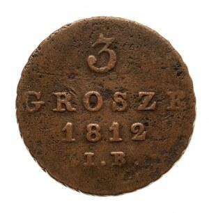 Księstwo Warszawskie 1807-1815, 3 grosze 1812 I.B., Warszawa