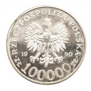 Polska, Rzeczpospolita od 1989 r., 100.000 złotych 1990, USA, Solidarność 1980-1990, /typ A/