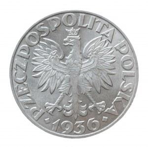 Polska, II Rzeczpospolita 1918-1939, 5 złotych 1936 Żaglowiec, Warszawa, mennicza