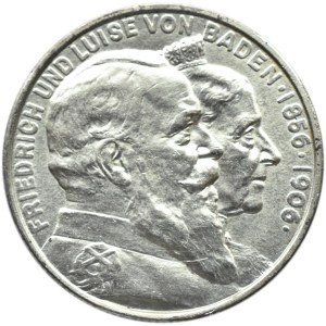 Niemcy, Badenia, Fryderyk, 2 marki 1906, Złote Gody, Karlsruhe