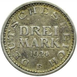 Niemcy, Republika Weimarska, 3 marki 1924 F, Stuttgart