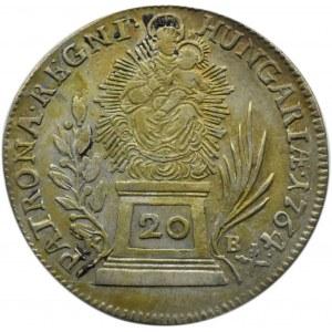 Austria, Maria Teresa, 20 krajcarów 1764 B, Kremnica, piękny egzemplarz