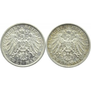 Niemcy, Prusy, Wilhelm II, lot dwóch monet 2 marki 1902, 1906 A, Berlin