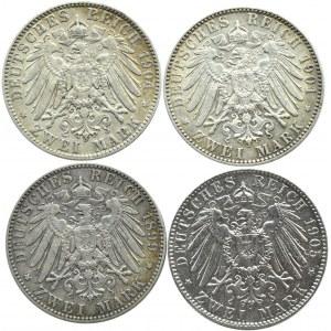 Niemcy, Saksonia, lot czterech sztuk 2 marki 1899-1905 E, Muldenhütten