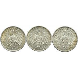 Niemcy, Prusy, Wilhelm II, lot trzech monet 2 marki 1902, 1904, 1905 A, Berlin